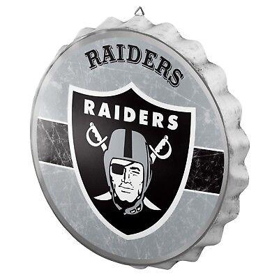 Oakland Raiders Bottle Cap Wall Sign - Distressed - Room Bar Decor Metal 13.5