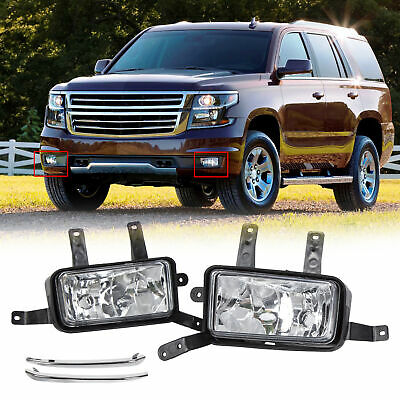 For 2015 2018 Chevy SuburbanTahoe Fog Lights Lamps wChrome Trim Switch Bulbs