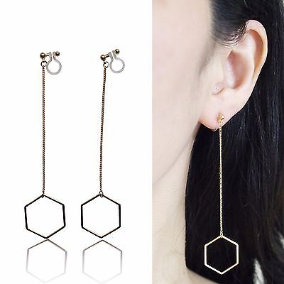 Dangle Gold Threader Invisible Clip On Earrings Long Hoop Clip-ons MiyabiGrace