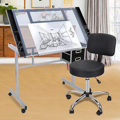 Adjustable Spa Salon Stool Chair + Drafting Table Craft Station w/Glass Top ()