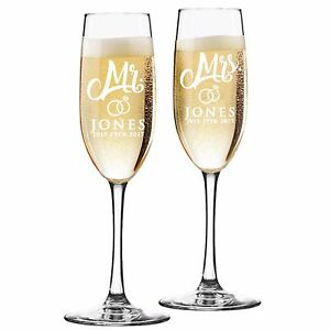 Custom Engraved Champagne Flutes for Wedding - Toasting Glasses For Mr and Mrs