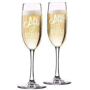 Custom Engraved Champagne Flutes For Wedding Toasting Gles Mr And Mrs
