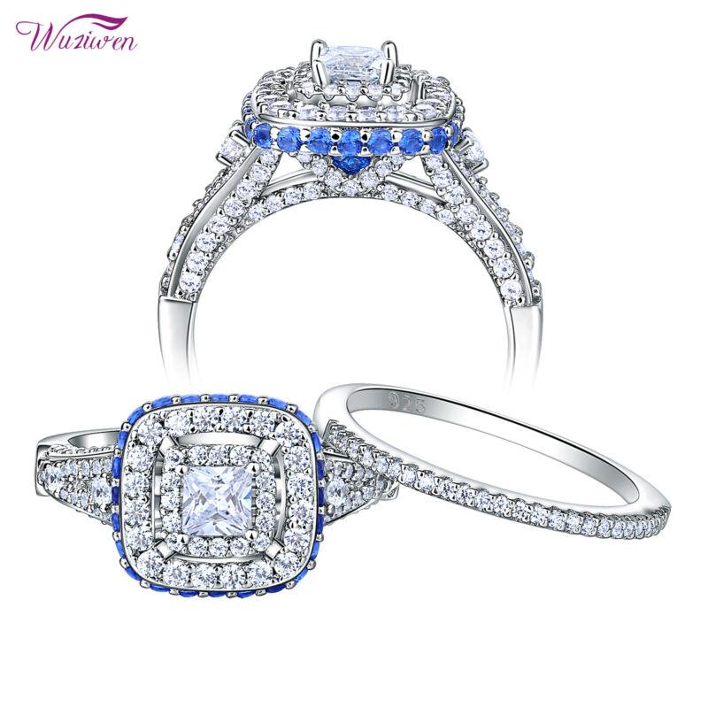 Engagement Wedding Ring Set For Women Princess Cz Blue 925 Sterling Silver 5-10