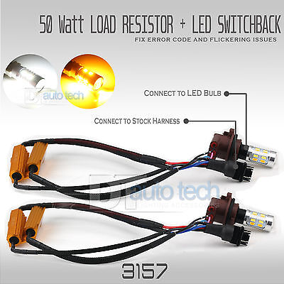 (Error Free White/Amber 3157 LED DRL Switchback Turn Signal Parking Light Bulbs)