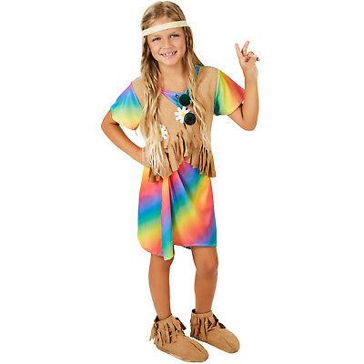 Mädchenkostüm Blumenkind Karneval Fasching Halloween Girlie Kinder 70er Hippie ()