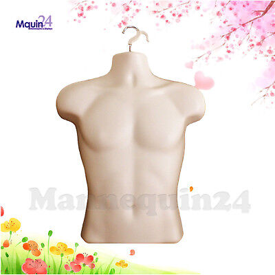 Male Mannequin Form Hanger - Dress Body Torso Display Jersey Shirt - Flesh