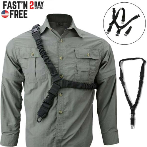 Tactical One Single Point Sling Strap Bungee Rifle Gun Sling with QD Buckle US