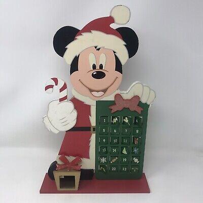 Vtg Disney Santa Mickey Mouse Christmas Count Down Advent Calendar Wood