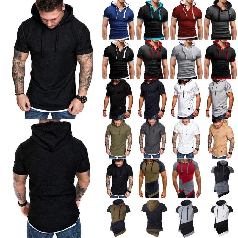Men Short Sleeve Hoodie Summer Casual Hooded Slim Blouse Sports Gym Sweatshirt Clothing, Shoes & Accessories