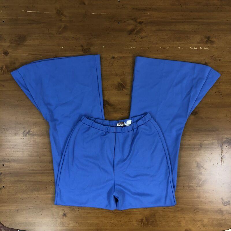 Womens True Vintage Retro 70s Blue Polyester Bell Bottom Pants 25 26 27 28 Waist
