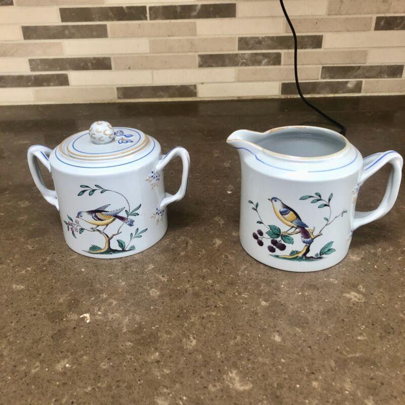 Spode Queens Bird Creamer & Covered Sugar Bowl Set Mint Condition