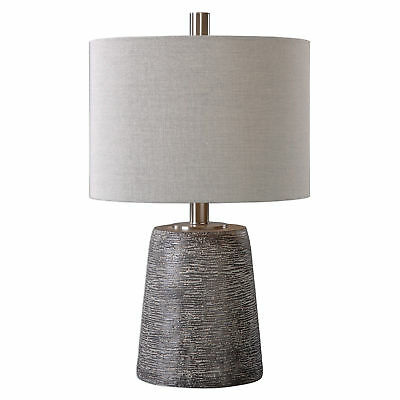 Textured Bronze Brown Ceramic Table Lamp | Earth Tones Rustic Gray Mid Century
