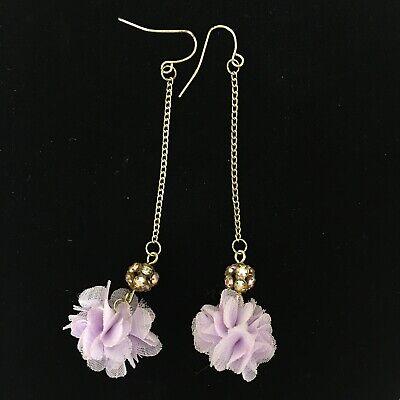 Purple Crystal Bead Earrings - Pom Pom Drop Earrings Crystal Bead Long Dangle Purple Sheer Organza