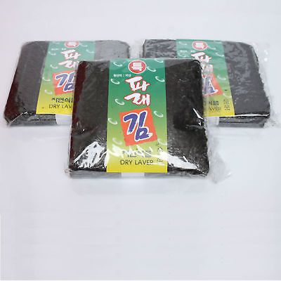 3X100 Sheet 300 Korean Dry Laver Whole Uncut Green Laver Nori Sushi Roll