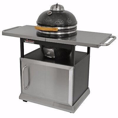 Brinkmann Trailmaster Ceramic Egg Charcoal Grill Smoker Stainless Cart & Cover for sale  Troy