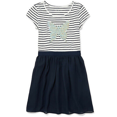 NWT The Childrens Place Girls Butterfly Flip Sequin Blue Striped Dress