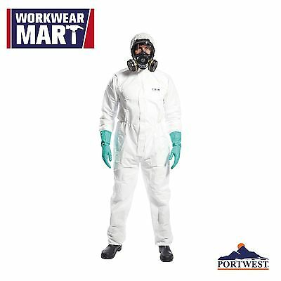White Disposable Coverall Sms Type 56 Bunny Work Suit Hood Lab Portwest Yst30
