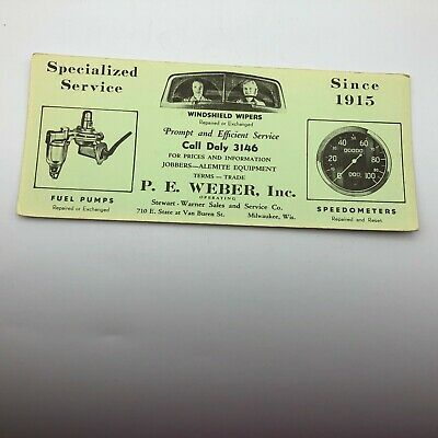 Vintage Original Weber Service Station Advertising Milwaukee Ink Blotter H1