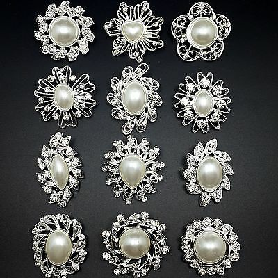 12pc/lot Mixed Sliver Pearl Rhinestone Crystal Brooches Pins DIY Wedding Bouquet