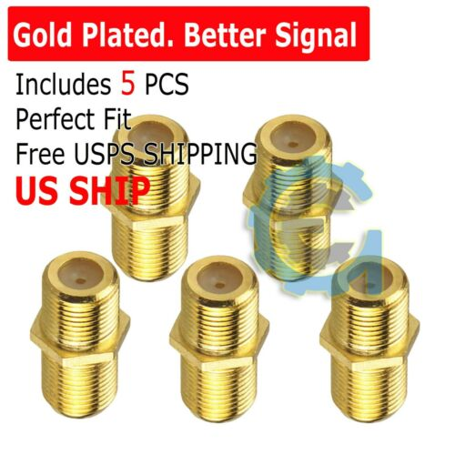 10pcs F Type Gold Coax Coaxial Cable Coupler Female Jack Adapter Connector