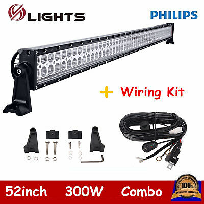 "52"" 300W LED Light Bar Off-road SUV Ford Truck Screws Philips + Free Wiring Kit"