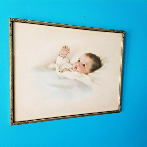 XL Antique BESSIE PEASE GUTMANN Sweet Baby LITHOGRAPH Gold Wood Framed AWAKENING