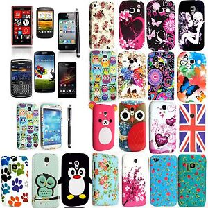 PRINTED-SILICONE-RUBBER-GEL-CASE-COVER-FOR-VARIOUS-PHONES-SCREEN-GUARD-STYLUS