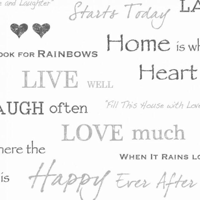 Fine Decor Distinctive Wall Words Wallpaper FD40427 - Quotes Hearts Love Black