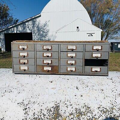 Vintage 16 Drawer Industrial Metal Storage Cabinet