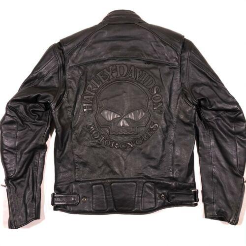 Harley Davidson Willie G Skull Reflective Black Leather Riding Jacket Sz M Men