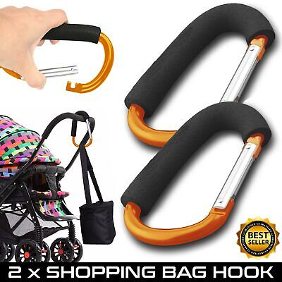2 Buggy Clips Large Pram Pushchair Hand Carry Bag Hooks Stroller Clip Carabiner