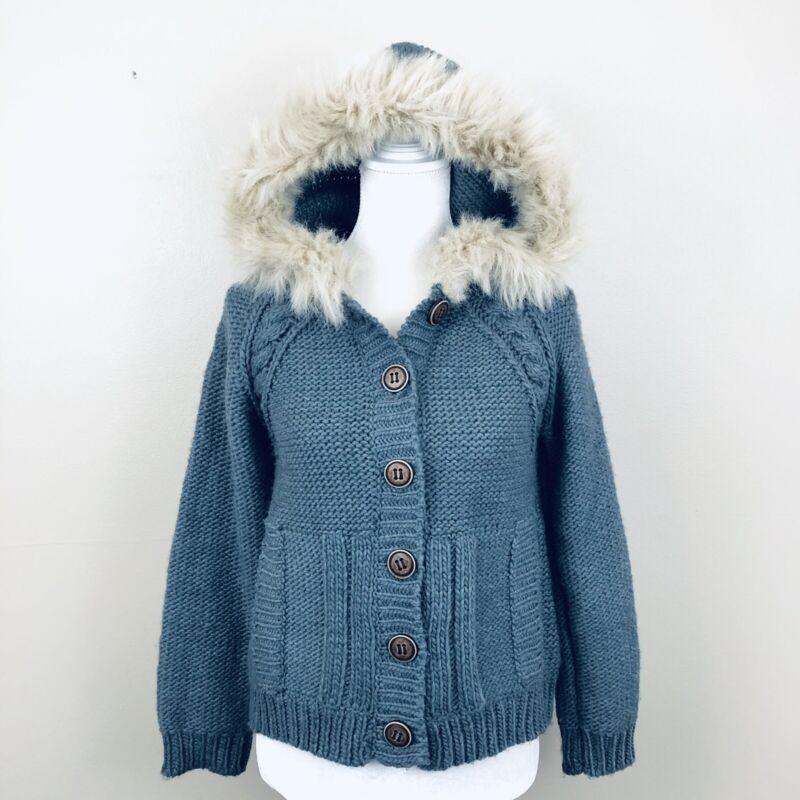 Zara Knitwear Girls XL Sweater Gray Fur Hood Button Cable Knit Soft Cardigan F5