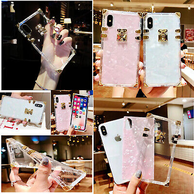 For iPhone XSMax XR X 6 7 8P Square Glitter Shell Metal Trunk crystal clear Case Crystal Clear Shell Case