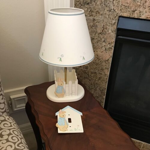 Baby Nursery Lamp and matching Switchplate..Boy Bunny...NEW