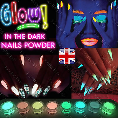 GLOW IN THE DARK POWDER LUMINESCENT ACRYLIC NAIL PAINTING NEON FLUORESCENT UK - Face Painting Glow In The Dark