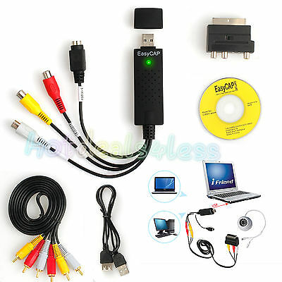 USB 2.0 VHS To DVD Audio Video Converter Adapter Scart Capture RCA Cable Win10
