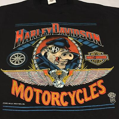 4cd29b54ae2c Vintage 1985 Harley Davidson Hog Medium T-shirt Motorcycle Bike Milwaukee  Hawg