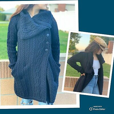 Aran Sweater Navy Blue Cable-Knit Cardigan Sweater XS Ireland 100% Merino Wool