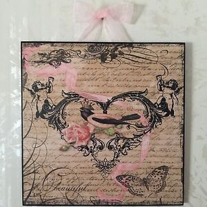 French Country Bird Rose Plaque Wall Decor Cottage Shabby EBay
