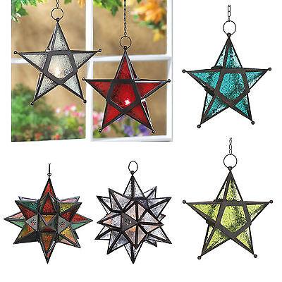 - Hanging Wrought Iron Star Tea Light Candle Holder LANTERN Pressed Glass Panels