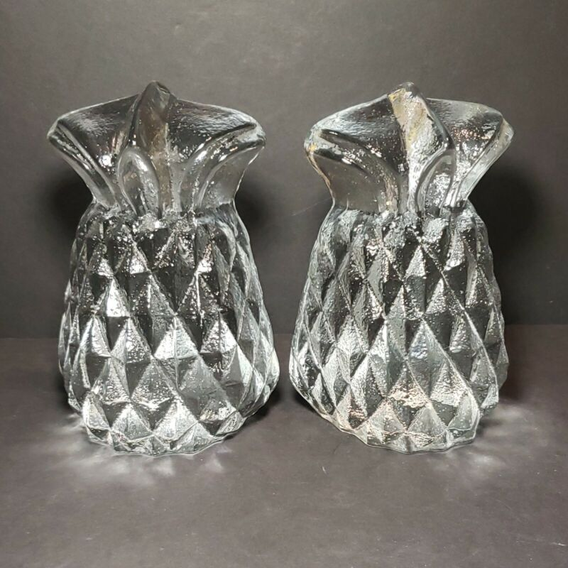 VINTAGE BLENKO PINEAPPLE BOOKENDS  CRYSTAL CLEAR GLASS 1960s