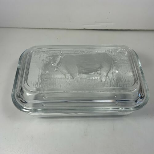 Arcoroc Glass Refrigerator Dish & Lid Cow in Pasture France Butter Ribbed Bottom