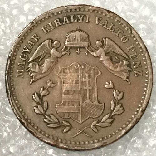 1868 KB HUNGARY 1 KRAJCZAR Copper Coin, FRANZ JOSEPH I, free combined S/H.