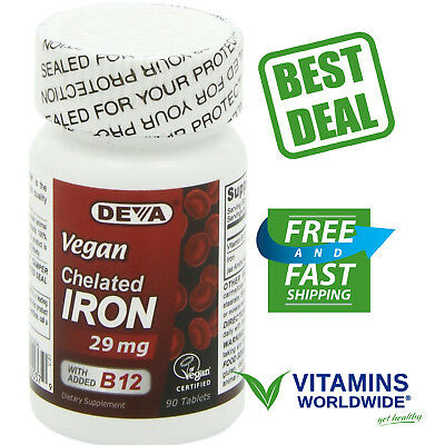 Vegan Chelated Iron (DEVA VEGAN CHELATED Iron 29 Mg With Vitamin B-12 Dietary Supplement 90 Tablets )