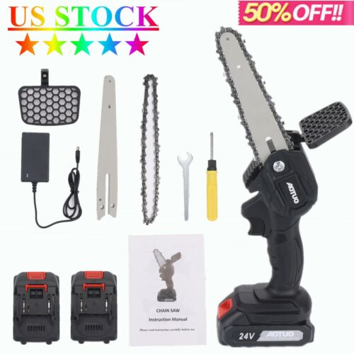 6 Inch Bar Cordless Electric Power Portable Mini Chainsaw Branch Cutting Pruning