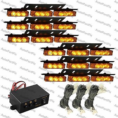 54 Amber Yellow Led Emergency Warning Strobe Lights Bars Car Dash Grille Tow