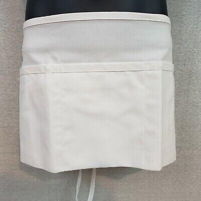 White Waist Server Apron 3 Pockets Polycotton 11l X 23w Fame Fabrics F9 Style
