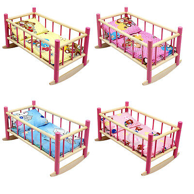 """NEW LARGE WOODEN PINK ROCKING BED COT Fits Up to 50cm 19"""" Doll"""