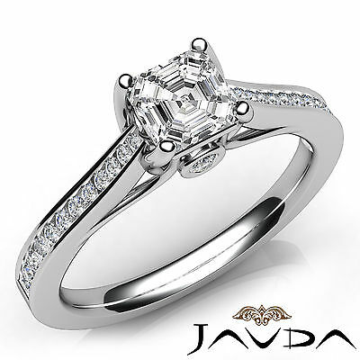 Asscher Cut Diamond Channel Engagement Javda Ring GIA G SI1 18k White Gold 1Ct