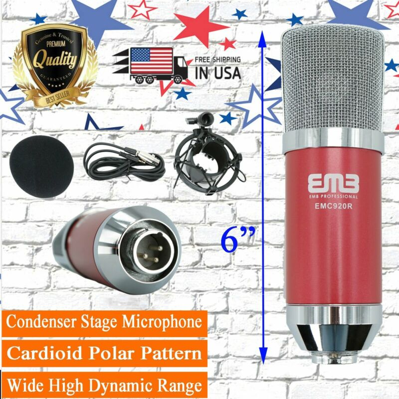 EMC920 Multi Pattern Recording Large Diaphragm Condenser Studio Microphone Red